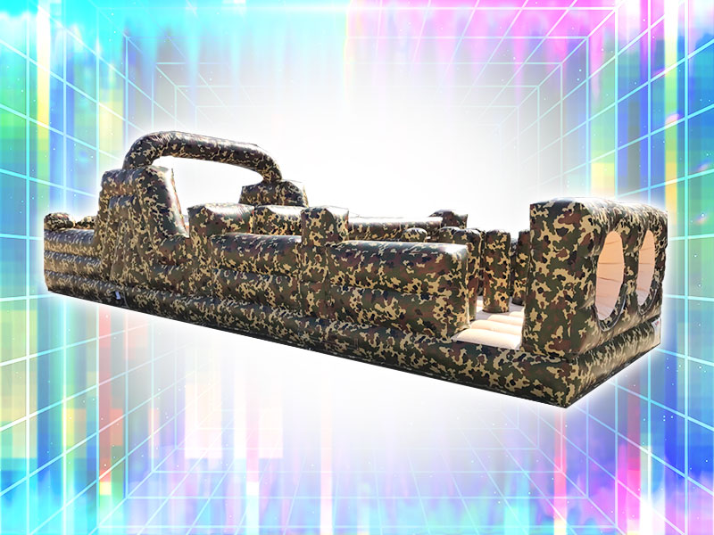 Inflatable Obstacle Course Rental 2-Player Camouflage Colors