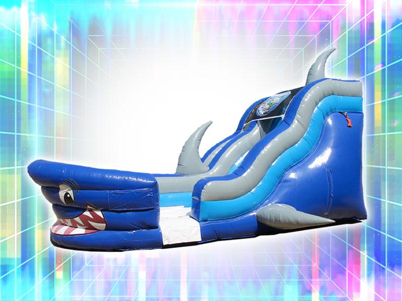 Shark Themed Blue Inflatable Slide